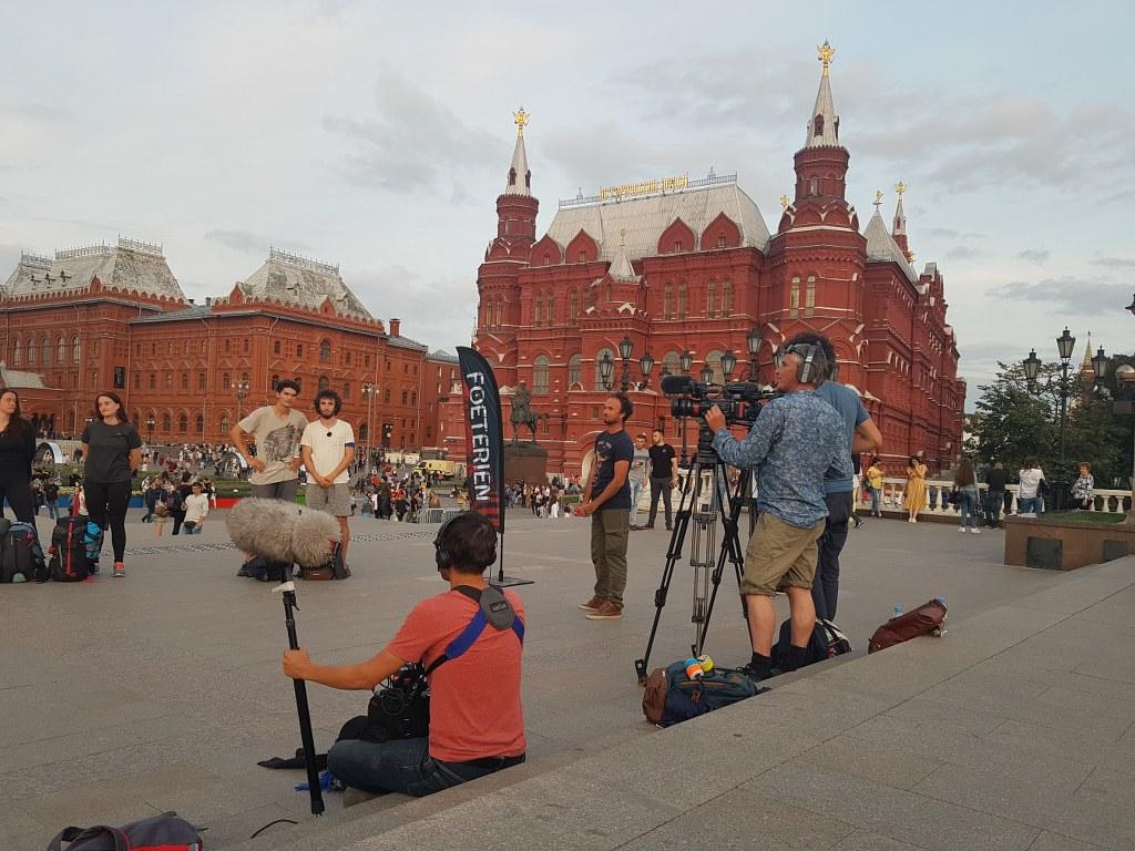 Съемки на Манежной площади в Москве