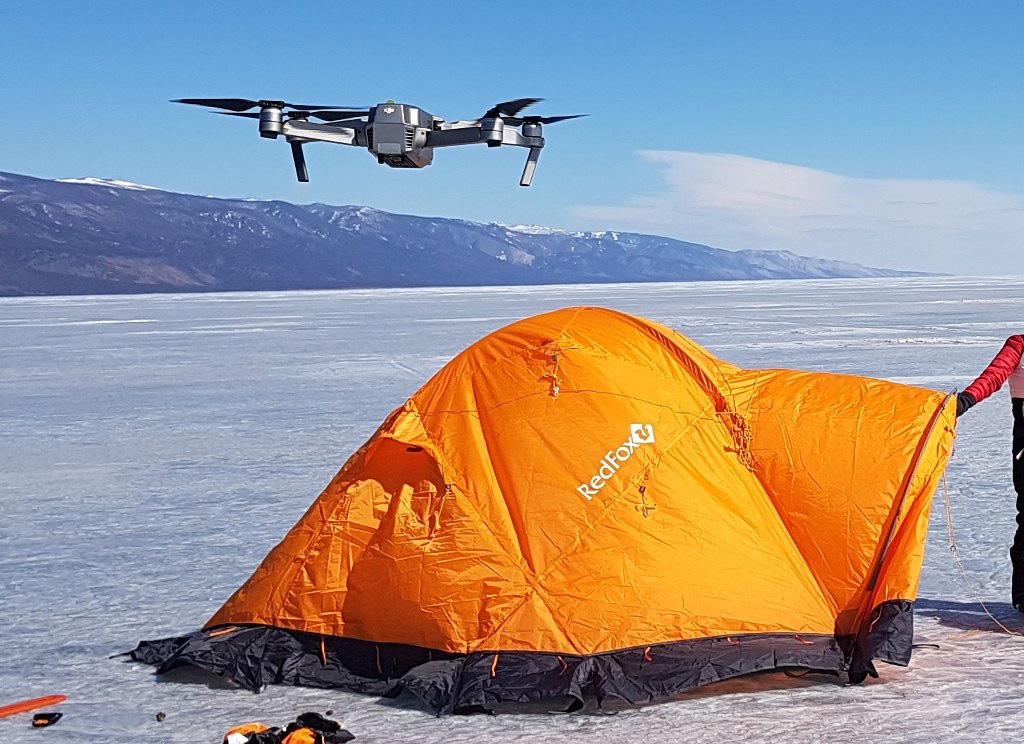 Съемки экстремальных путешествий зимой на Байкале
